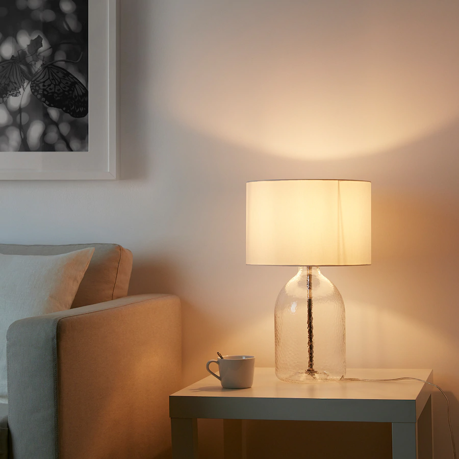 Allanit Table Lamp With Led Bulb White Glass Max 13 W Height 19 Ikea In 2021 Lamp Ikea Lamp Table Lamp