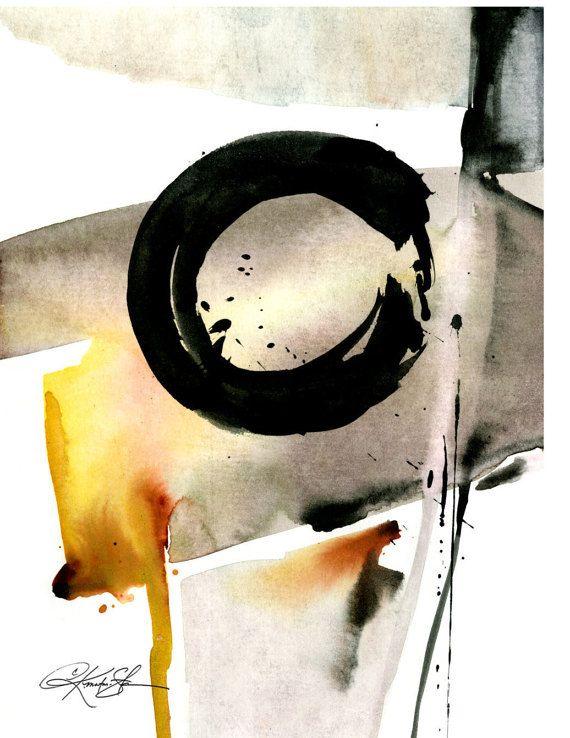 Original Enso Zen Painting Throw Pillows: Enso Abstraction No.105 ... Spiritual Zen By Kathy Morton