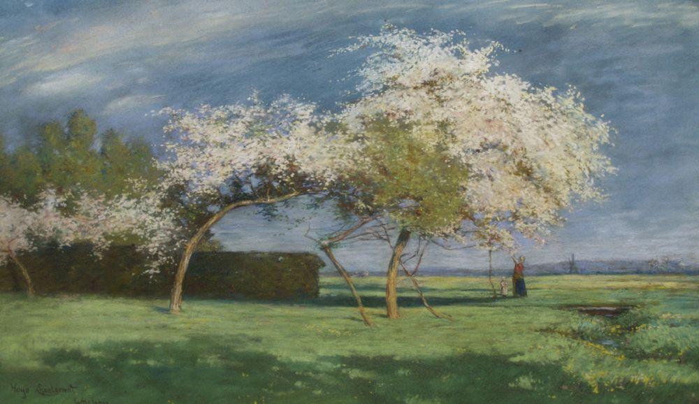 Hugo CHARLEMONT Wachau (?) Hans am Ende (1864-1918) Frühlingstag | eBay