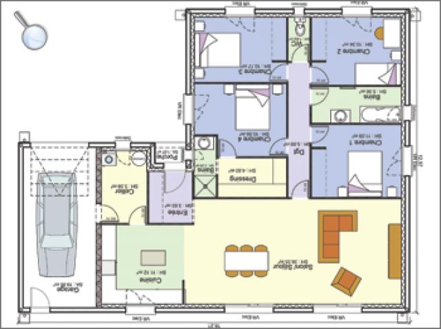 Plan Maison 4 Chambres Garage Plan Maison 4 Chambres Plan