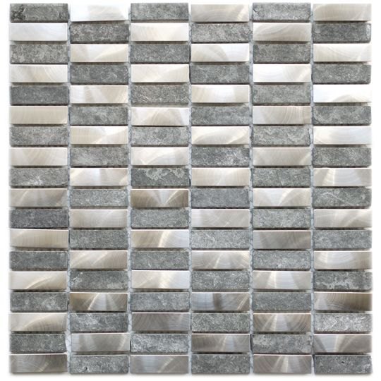 Eden Mosaic Tile Stainless Steel Bricks And Gray Basalt Stone