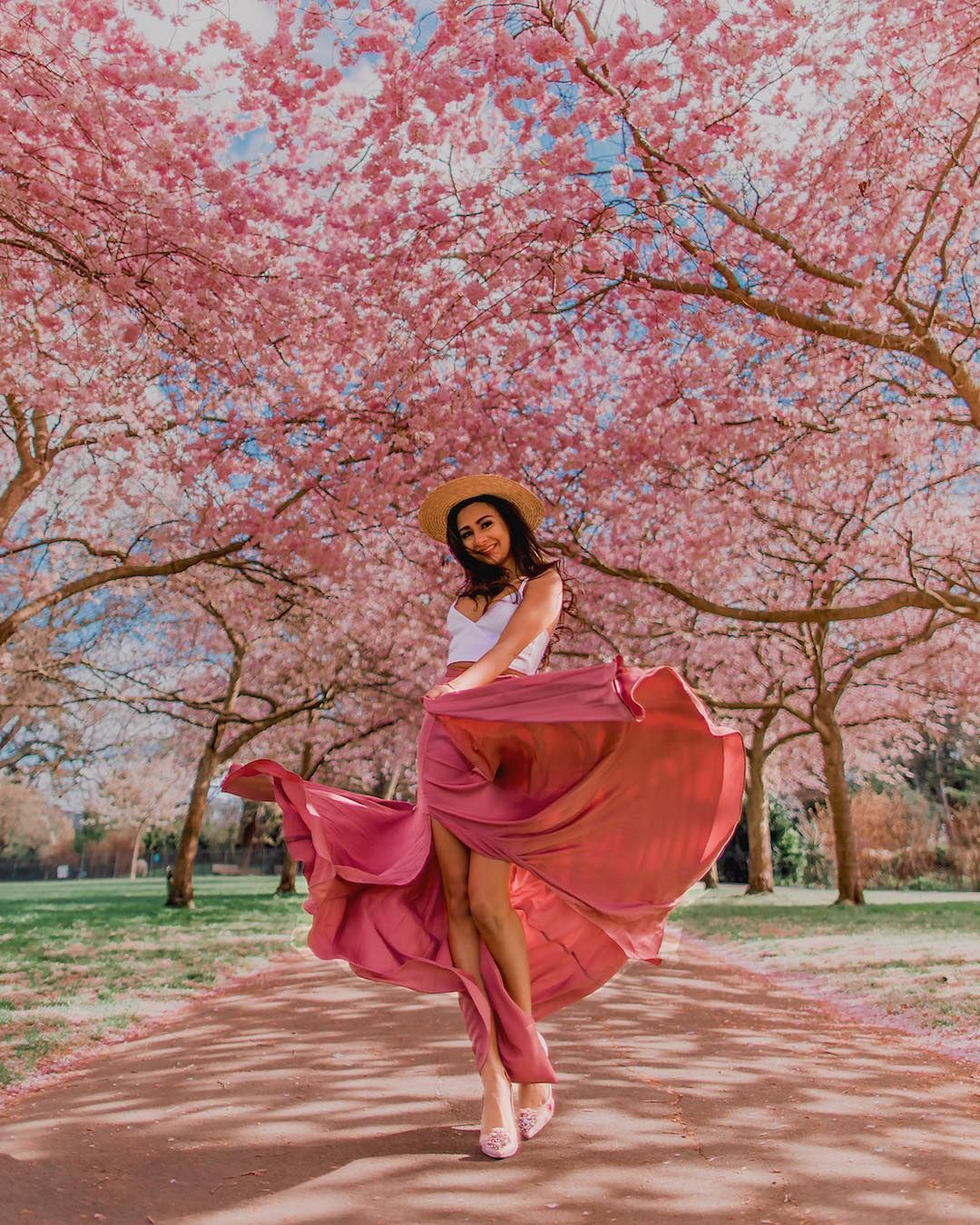 Spring Cherry Blossom Tree Inspired Dress By Ursulaillustration Fashion Illustration Sketch Cherry Blossom Dress Fashion Illustration Clothing Themes