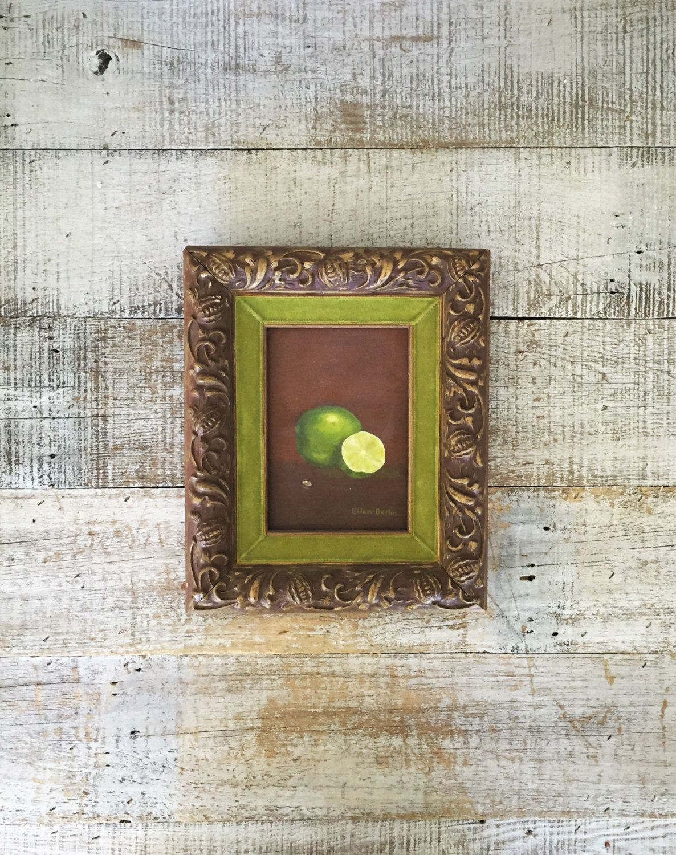 Fruit wall art lime painting vintage framed signed still life fruit