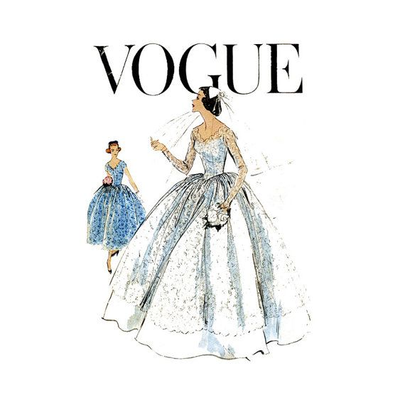 1950s+Wedding+Dress+Bridal+Gown+Pattern+Vogue+9084+by+CynicalGirl,+$ ...