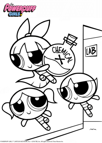 Powerpuff Girls with Chemical X Coloring page | Powerpuff Girls ...