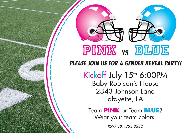 Custom DIY printable pink vs. blue football themed gender reveal ...