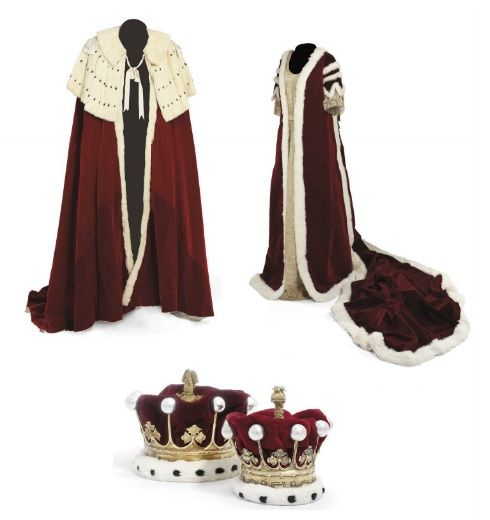Coronation robes of the Earl and Countess of Tunis; coronets, mark ...