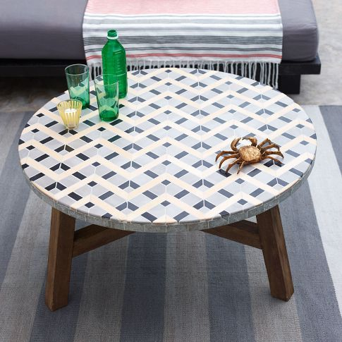 Mosaic Tiled Coffee Table Gray West Elm Tiled Coffee Table