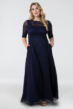 8332070206208 This vintage-inspired lace A-line gown is simple yet elegant