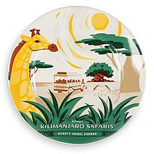Disney Parks Attraction Art Plate - Kilimanjaro Safaris - 7'' | Disney Store You'll be on a snackin' safari when served from our wild <i>Kilimanjaro Safaris</i> dessert plate, illustrated with an original design inspired by <i>Walt Disney World</i> Resort attraction posters.