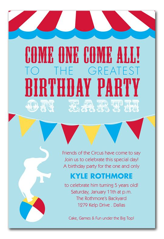 Circus Invite Wording Theme Cakes Carnival Party