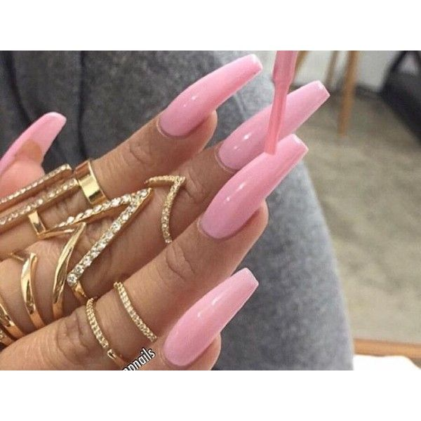 Long pink nails, www.puddycatshoes.com ❤ liked on Polyvore ...