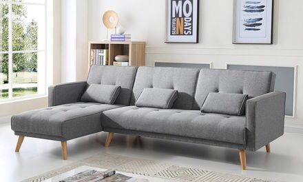Canape Convertible Scandinave Avec Ses Coussins Sofa Bed Sofa Bed Lights