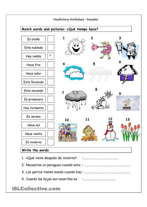 El Tiempo Free Spanish Worksheet on Weather Expressions by ...
