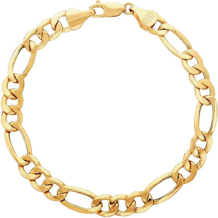 Fine Jewelry Made In Italy Mens 9 Inch 14k Gold Chain Bracelet Gold14krings