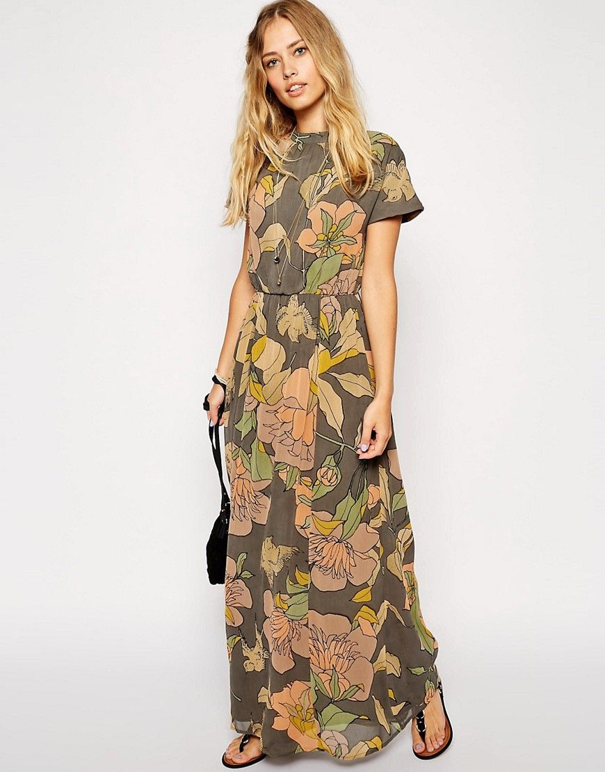 Image of asos maxi dress with high neck in bird print florals