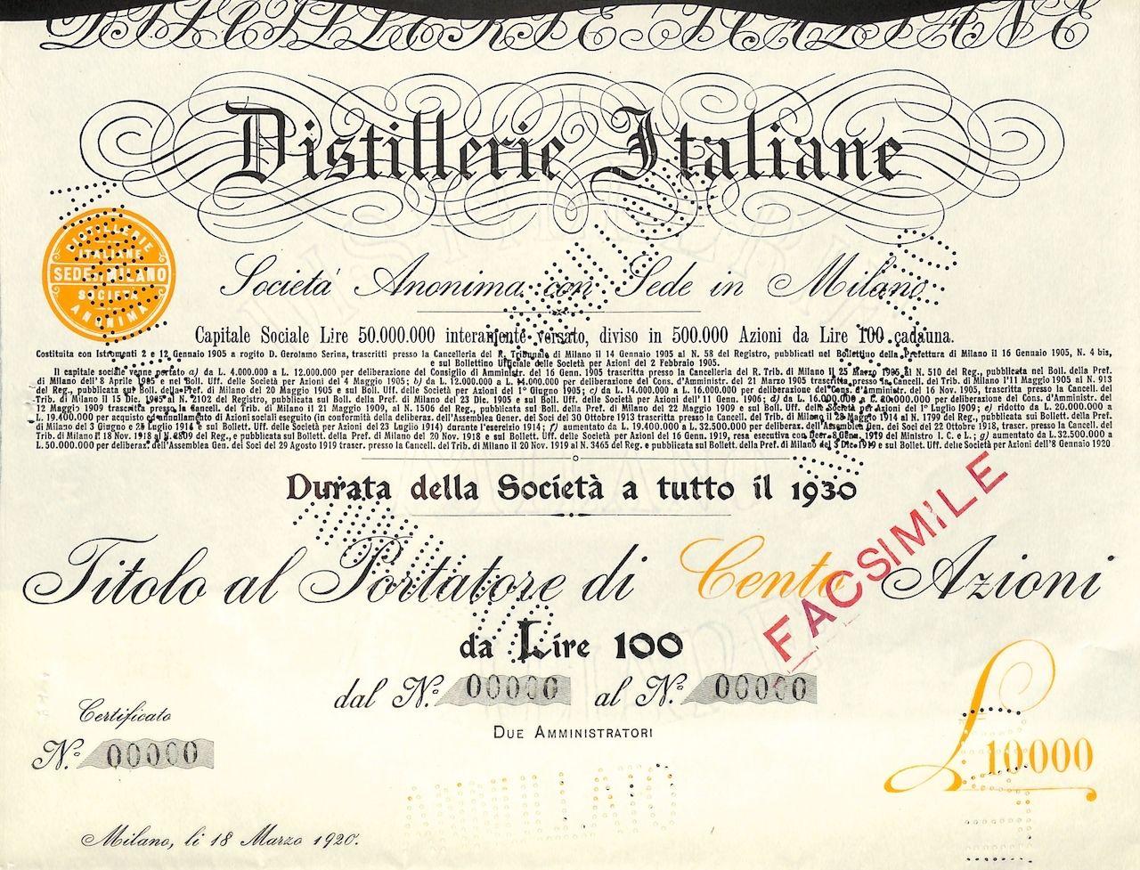 DISTILLERIE ITALIANE - #scripomarket #scriposigns #scripofilia #scripophily #finanza #finance #collezionismo #collectibles #arte #art #scripoart #scripoarte #borsa #stock #azioni #bonds #obbligazioni