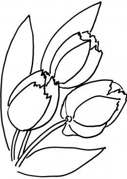 Раскраска Букет из тюльпанов (с изображениями) | Цветочные ...