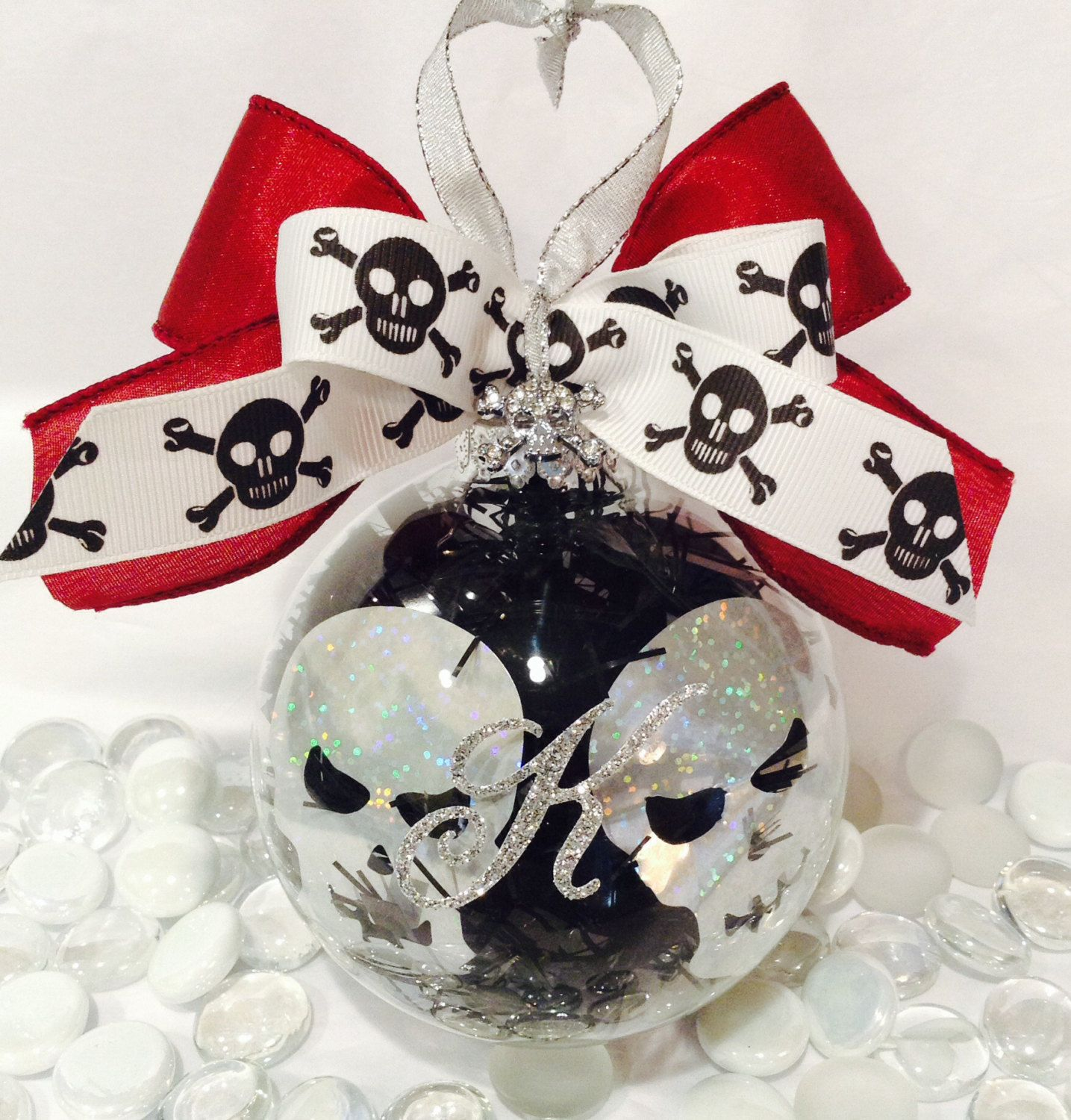 Personalized Skull Head Glass Ornament, Halloween Baubles
