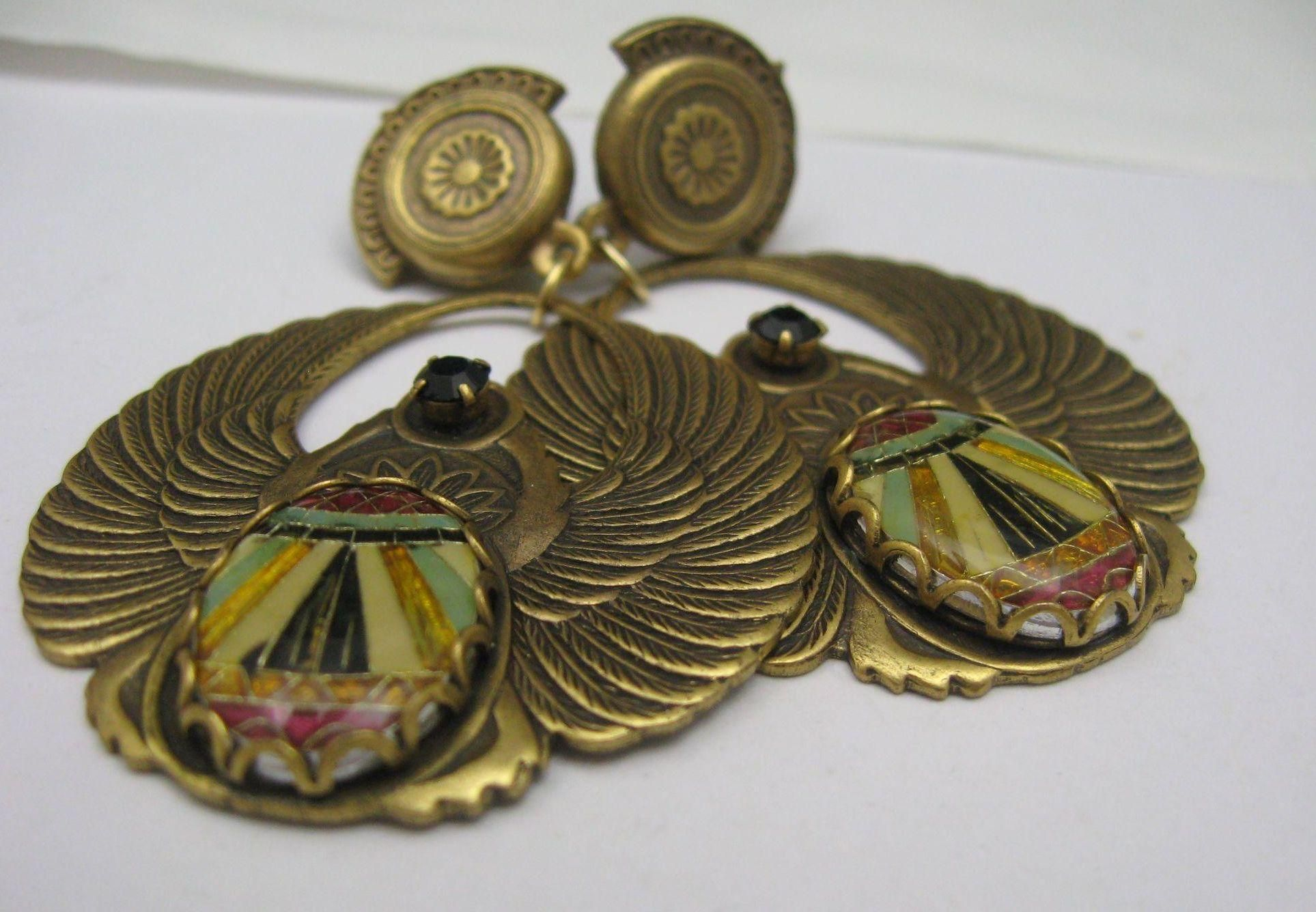 Intaglio Egyptian Revival Earrings signed