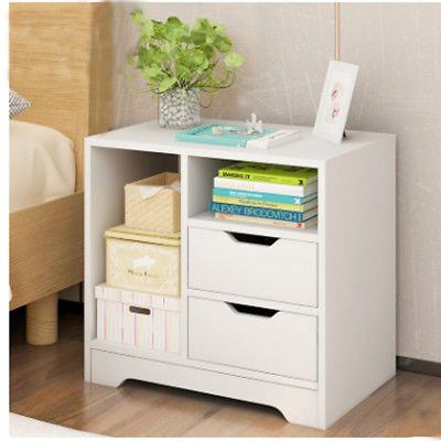 2x 1 Drawer Bedside Table White Storage Cabinet Night Stand Shelves Bedroom Home In 2020 Bedroom Storage Cabinets White Storage Cabinets Bedroom Storage