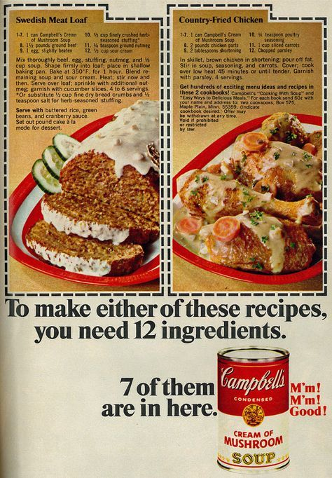 1968 Food Ad Campbell S Soup With Two Recipes Retro Recipes Campbells Recipes Campbells Soup Recipes