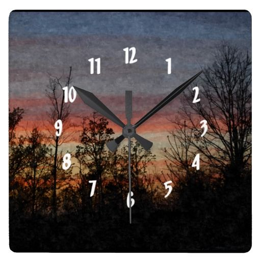 Evening Skies Square Wall Clock