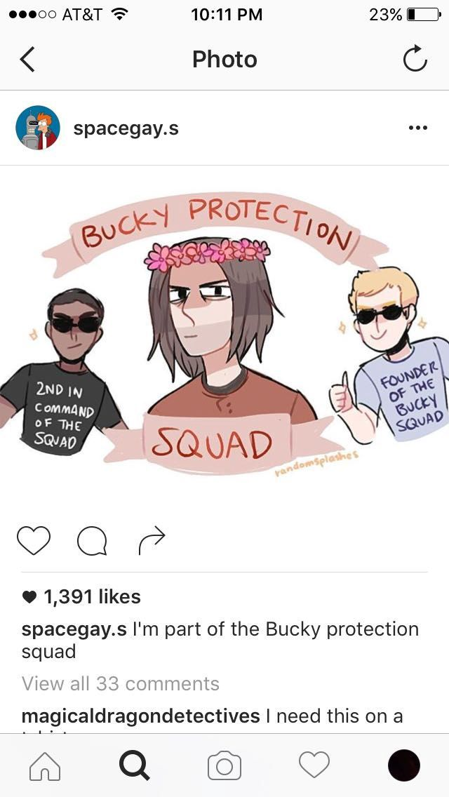 Avengers Photos and Puns 3 - Bucky Protection Squad Art