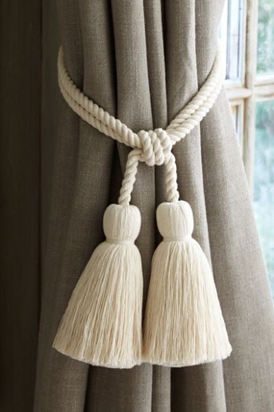 Cotton Tassel Tie Back Braided Tassle Tie Back Fringe Tassle Tie Back Soft Surroundings Curtain Tie Backs Tassels Tassels Curtain Tie Backs