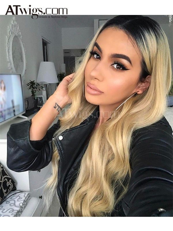1b 613 Full Lace Wig Ombre Blonde Lace Wig Dark Roots Human Hair