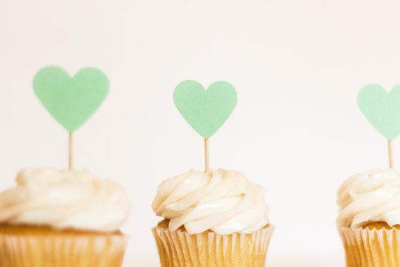 Mint Hearts || Cupcake Toppers || Set of 12 on Etsy, $4.00