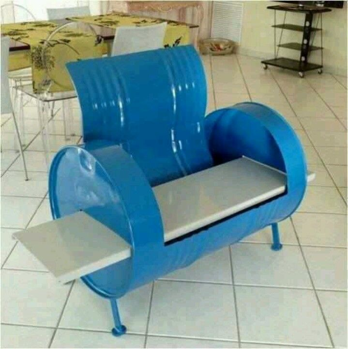 Wonderful Metal Barrel Bench  Cute I Would Male Mine More Rustic