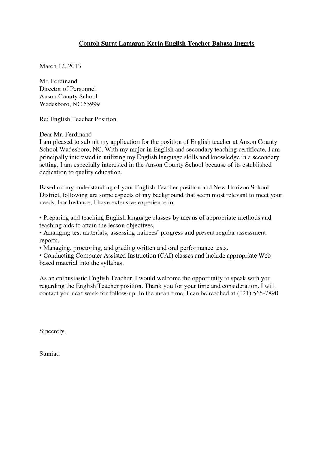 Surat Lamaran Kerja Guru Bahasa Inggris Bahasa inggris, Guru