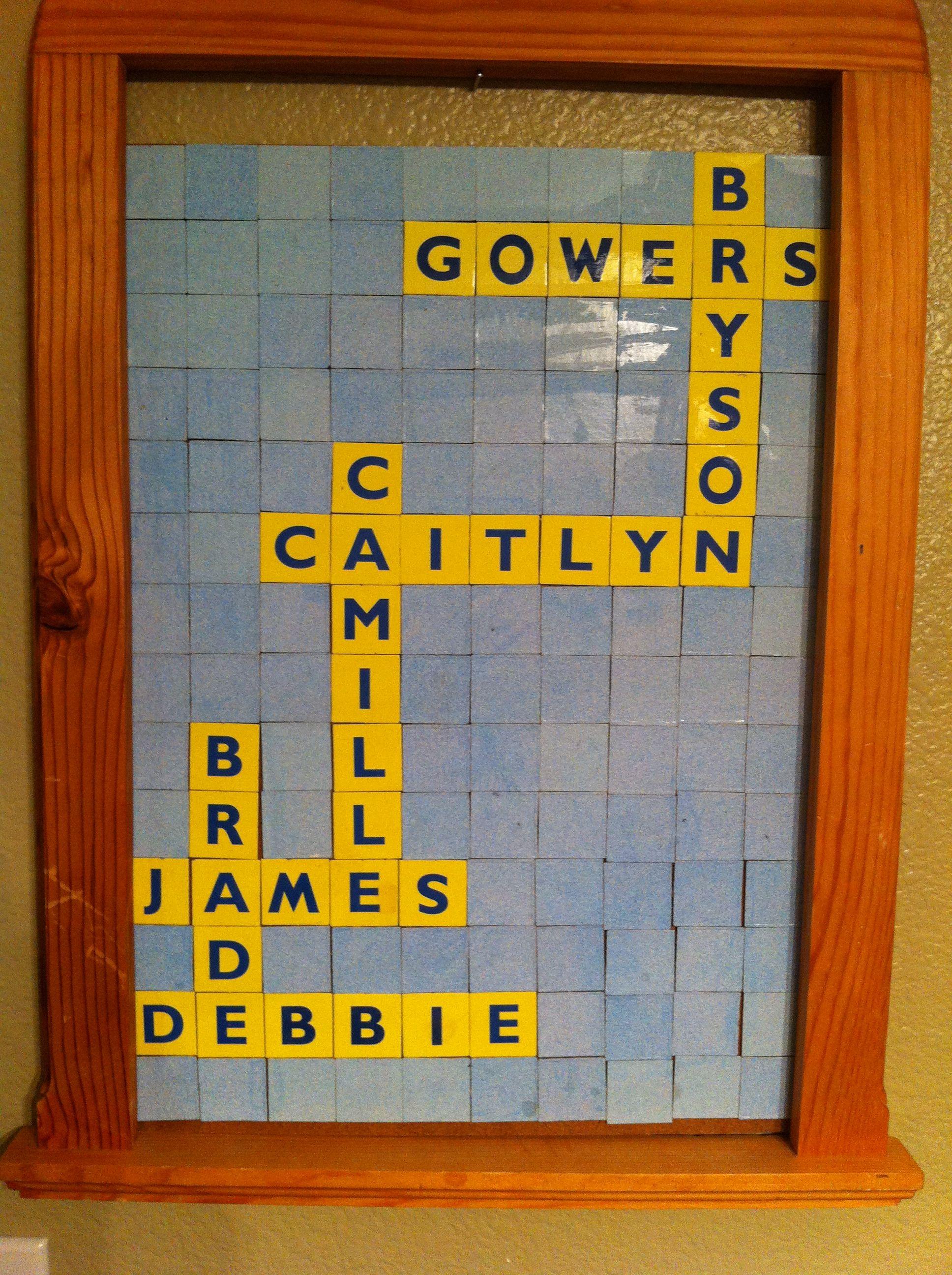 Scrabble junior game. Using my kids names Kid names