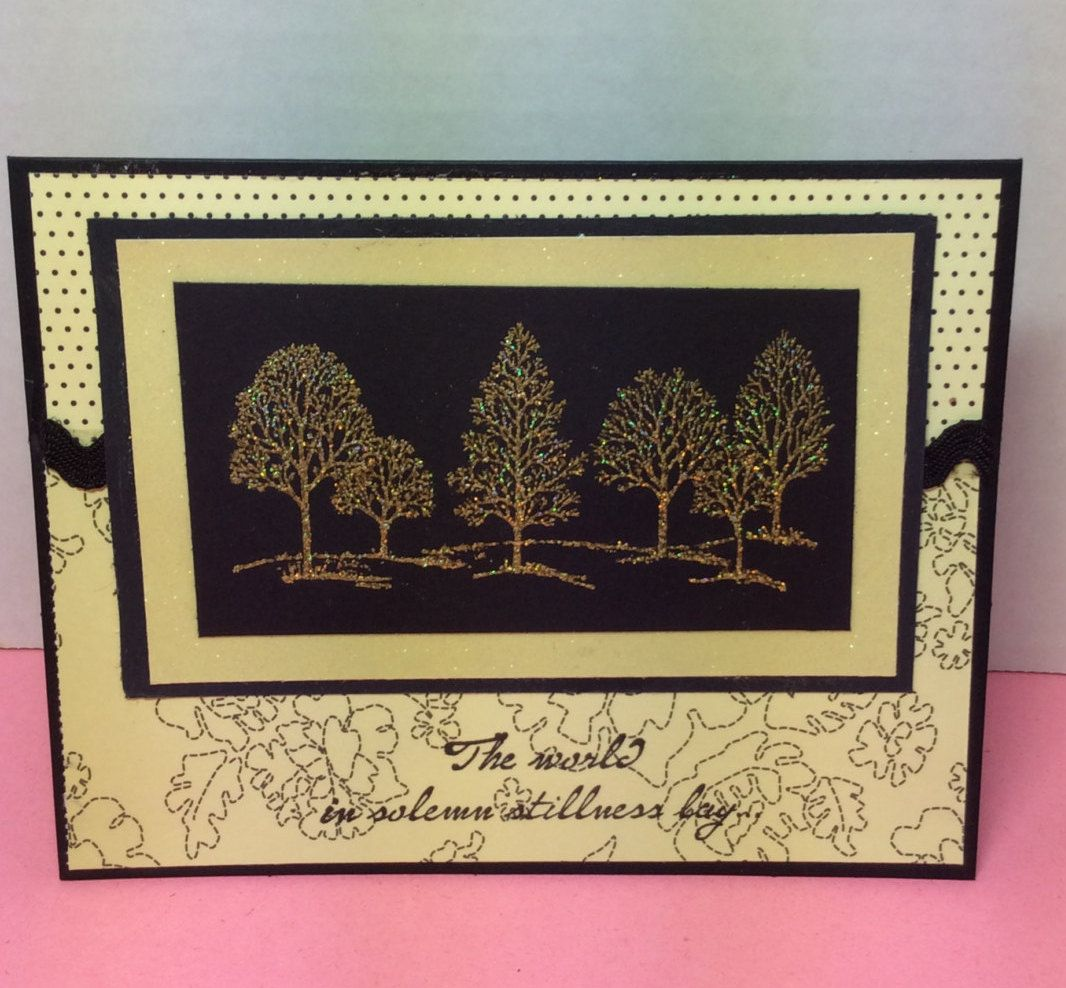Cream and Black with Golden Trees Sympathy Card by CatsCradleDesign on Etsy