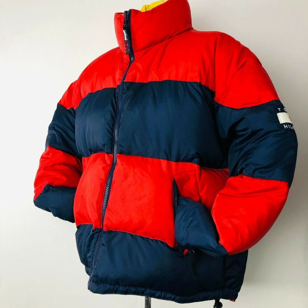 Vintage Tommy Hilfiger Puffer Down Jacket Mens Large Color Block Striped 90s Tommyhilfiger Pufferjac Pullover Sweater Men Down Jacket Men S Coats And Jackets [ 1000 x 1000 Pixel ]