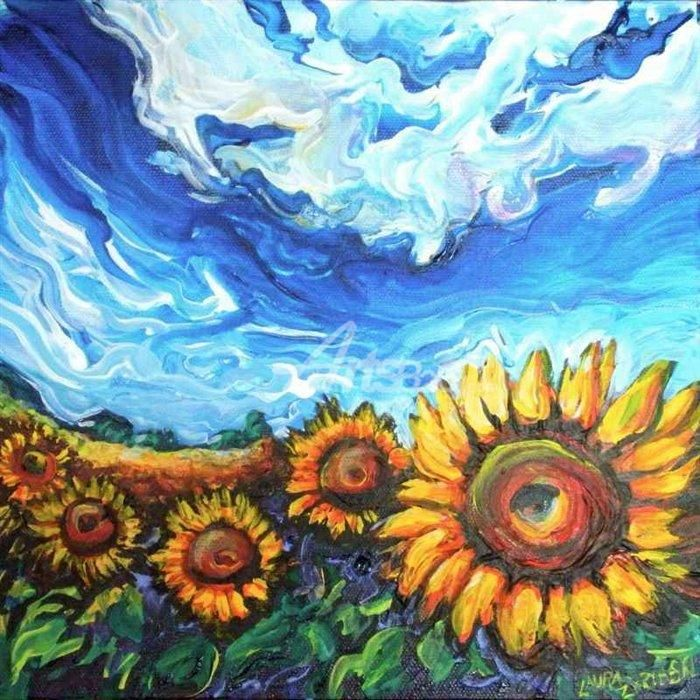 Starry night and sunflower field oil painting paintings for Cheap canvas paintings for sale