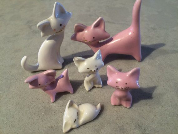 Freeman McFarlin Pink and White Cat Kitten by CobaltCatMiniatures