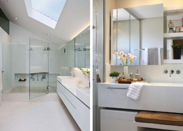 Banheiros com iluminação embutida atrás do espelho  Toilet design, Design co -> Nicho Banheiro Led