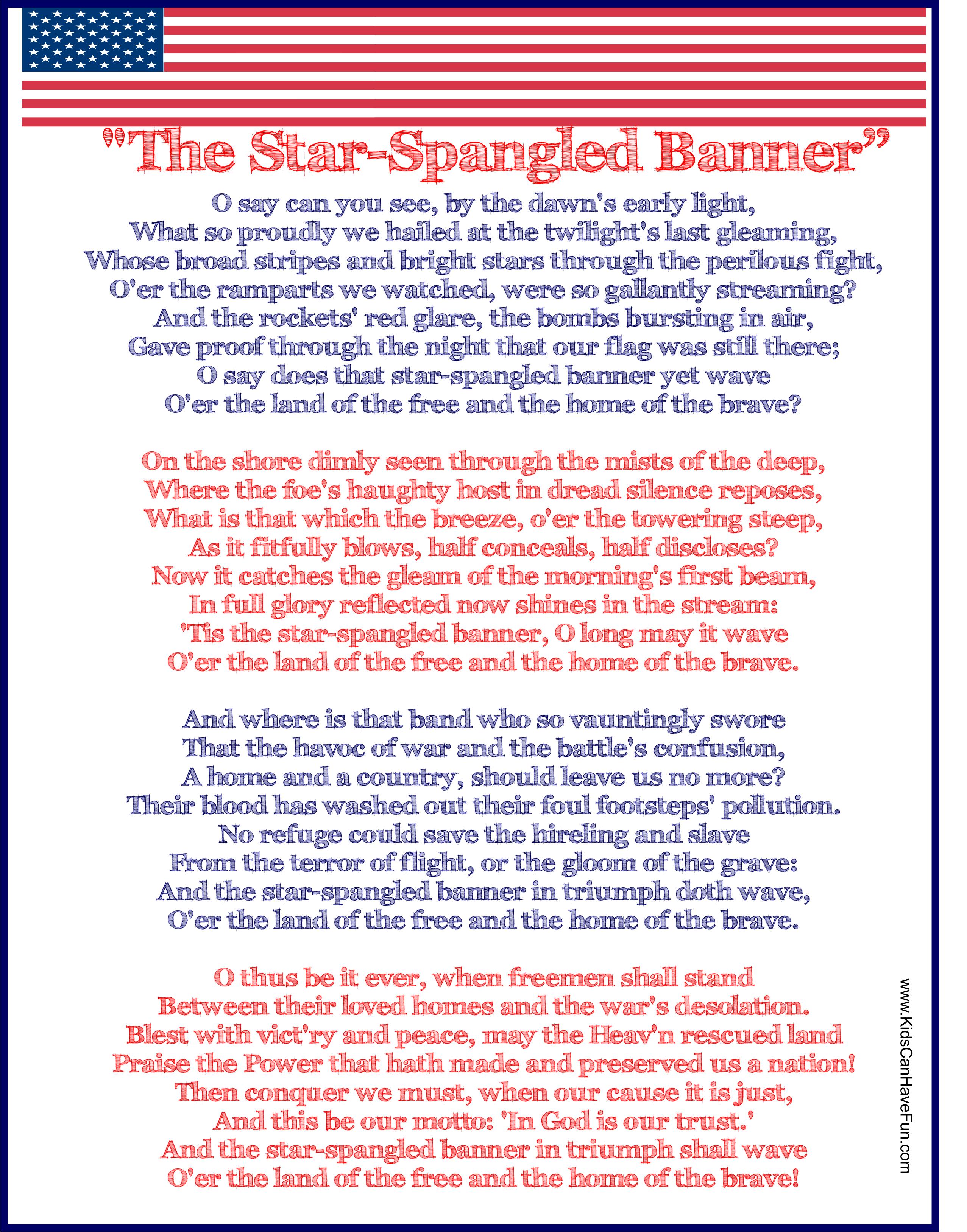 The Star Spangled Banner Usa National Anthem Poster