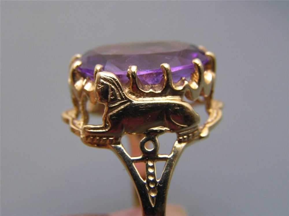 LARGE Vintage Egyptian Revival 10kt gold Amethyst Sphinx Cocktail Ring #Cocktail $575