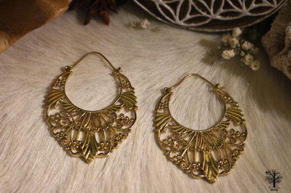 Sri Yantra Brass Earrings Floral Hippie Tribal Gypsy Bohemian Style