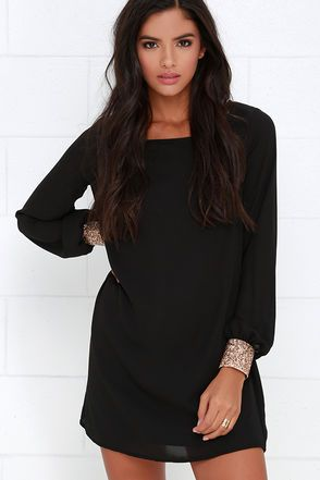 Guiding Light Black Long Sleeve Shift Dress In 2018 Bohemian Style