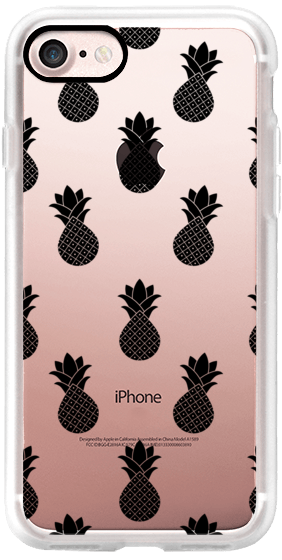 Casetify iPhone 7 Classic Grip Case - Simple Black Graphic Pineapple Fruit Modern Trendy Pattern Clear Case by Carla Zancanaro  #Casetify