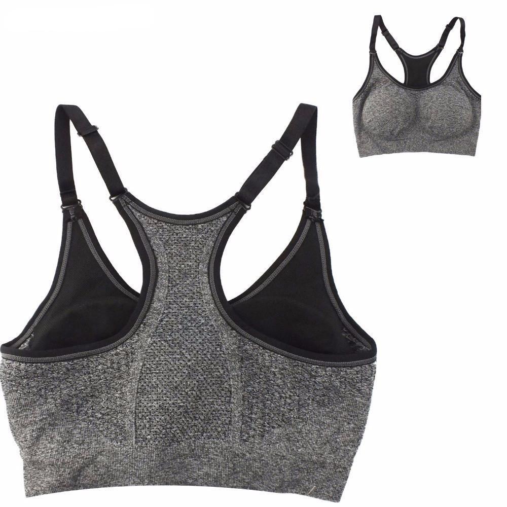 Grey Women Sports Bra Adjustable Straps/ Push Up Plus