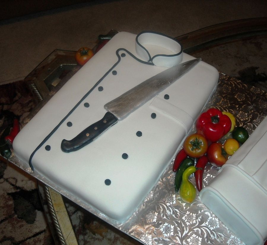 Chef birthday cake jacket knife and hat knife is made of