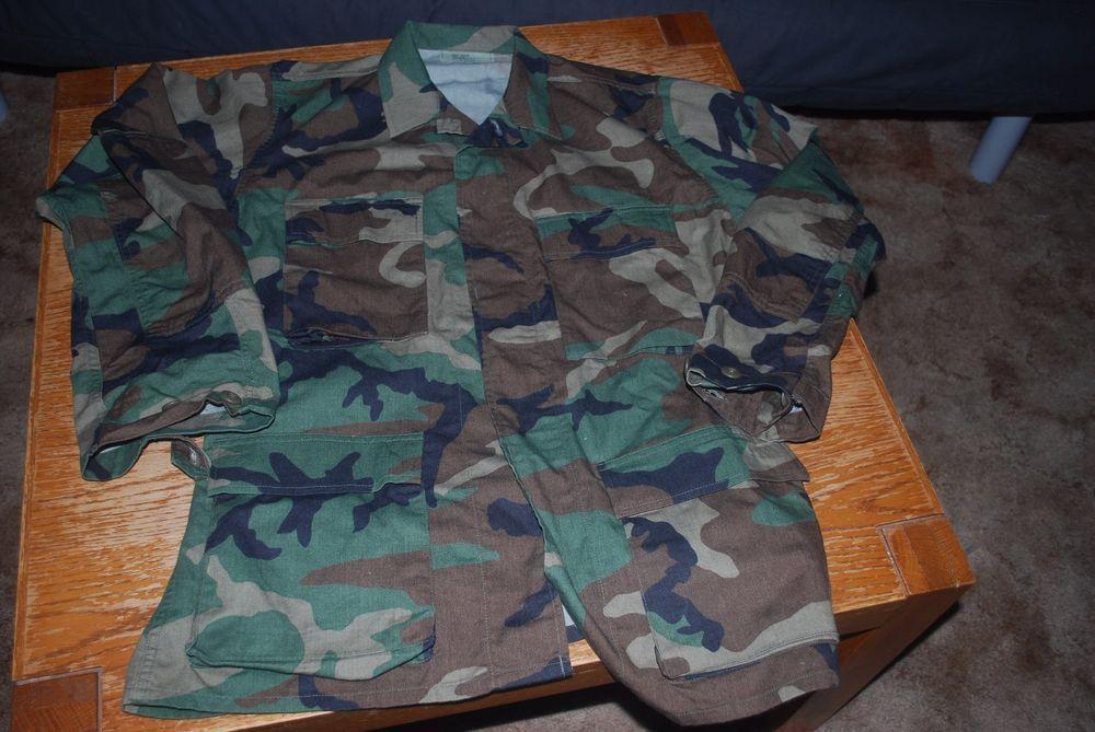 USGI Army Woodland Camo BDU SMALL Regular Shirt 4 Pocket Jacket Cotton