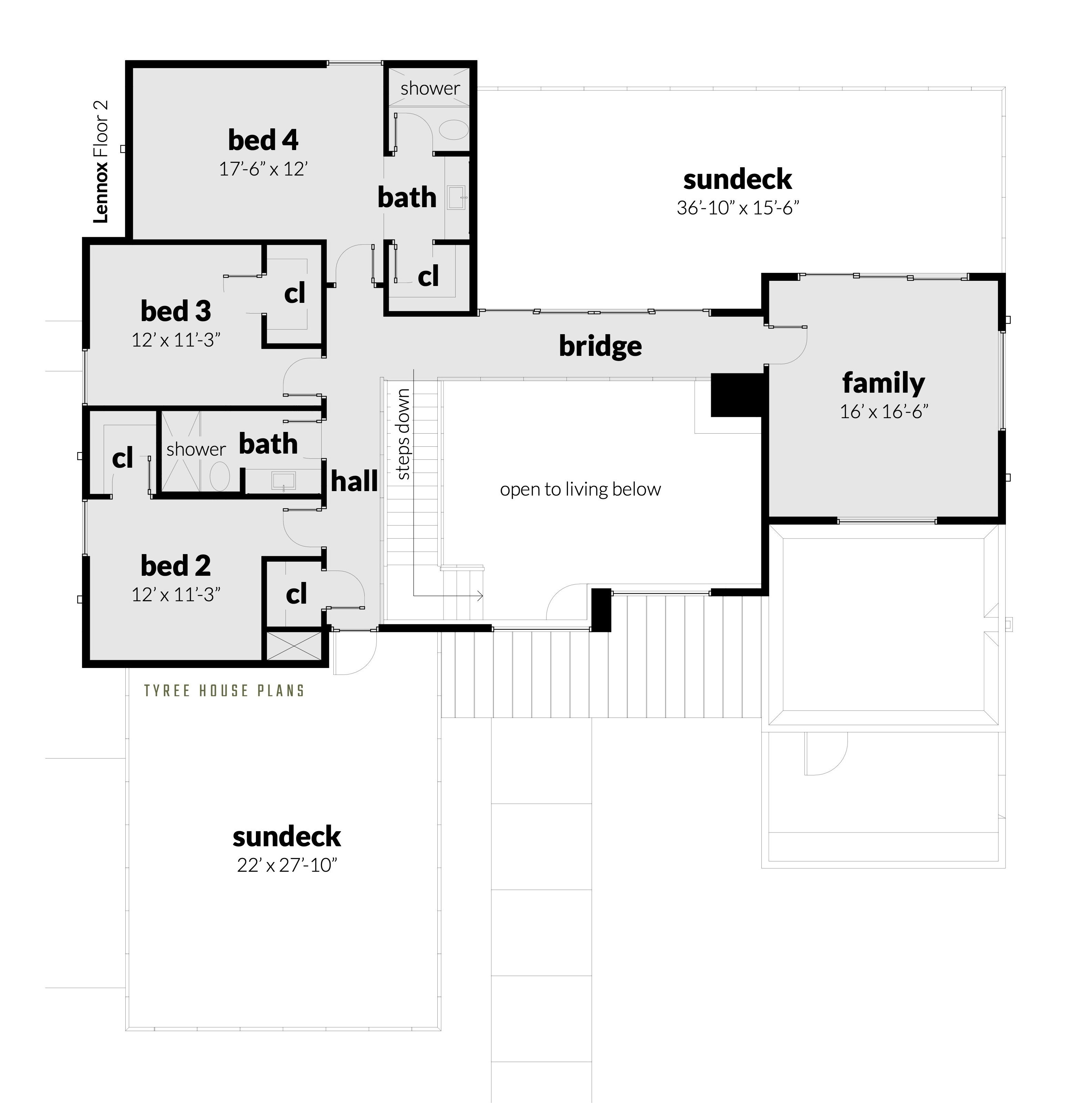 4 Bedroom Modern Home With Private Office Tyree House Plans Modern Style House Plans House Plans Modern House