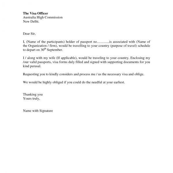 Cover Letter For Visa Application Ideal Vistalist Co Sample To