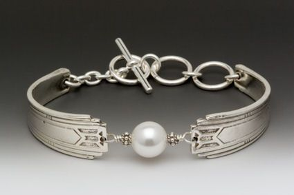 Inspired Silver Spoon And Pearl Bracelet Use Ends Of Baby Utensils With